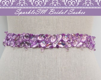Purple Bridal Sash, Bridal Sash, Bridal Belt, Wedding Dress Sashes, Wedding Gown Belts, Jeweled Sash, Jeweled Bridal Sash, Prom Dress Sash
