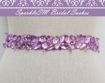 Purple Bridal Sash, Bridal Sash, Bridal Belt, Wedding Dress Sashes, Wedding Gown Belts, Jeweled Sash, Jeweled Bridal Sash, Prom Dress Sash