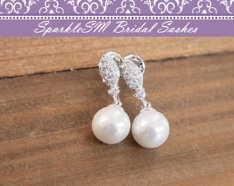 Pearl Rhinestone Bridal Earrings, Crystal Swarovski Bridal Wedding Earrings, Silver Bridal Earrings, Crystal Post Earrings, SparkeSM, Carrie