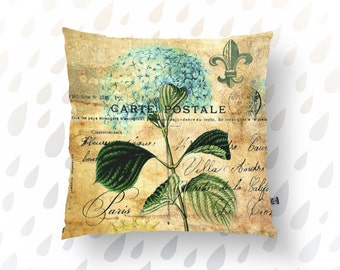 Hydrangea Floral Throw Pillow Nature Vintage Plant Life Colorful Flowers Home Decor Product Sizes and Pricing via Dropdown Menu