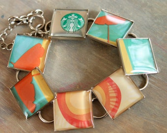 Recycled Gift Card Starbuck bracelet, charm bracelet, resin jewelry, teal coral