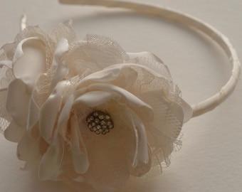 Headband - Two Flower Headband with Lace and Rhinestone Centers - Many Colors Available - Flowergirl Headband, Wedding Headband