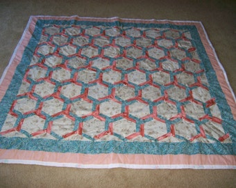 """Lap Quilt/Wall Hanging 68 X 72"""" Quilt-Octogon Pattern--Free Shipping"""