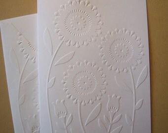 Set of 6 Embossed Fun Flowers Notecards