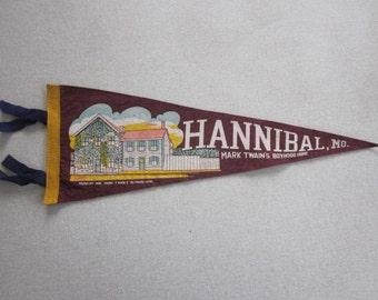 Vintage Felt Souvenir Pennant Hannibal Missouri Boyhood Home of Mark Twain 1940s