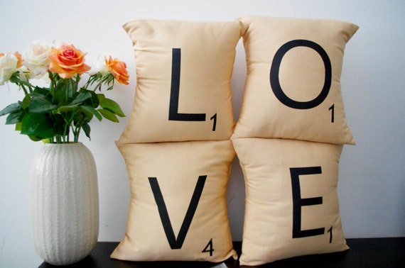 LOVE -- Set of 4 SCRABBLE LETTER decorative pillow cases cushion covers -- choose any 4 letters
