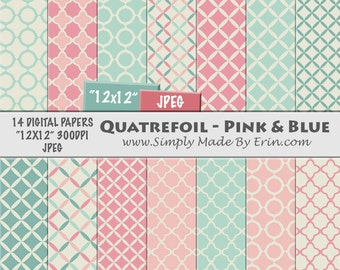 Quatrefoil Digital Paper - Digital Scrapbook Paper Pack - Scrapbook Paper - 12x12 Digital Paper