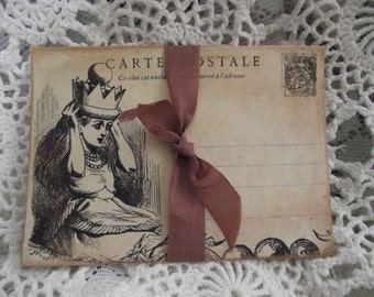 Alice In Wonderland Postcard Distress Style Writing Card Party Favor Scrapbooking