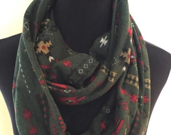 New Soft Stretch Knit Aztec Print Infinity Scarf, Green, Red, Black, White and Yellow