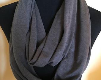 New Gray Stretch Knit Infinity Scarf