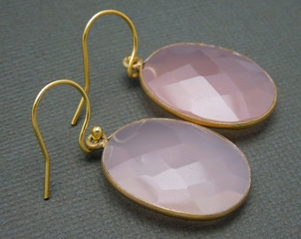 Oval Pink Chalcedony Earrings-- 18mm x 23mm -- Gold over Sterling silver (S48B11-02)