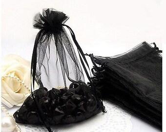 "25pcs Black Organza Gift bags 5""X7"""