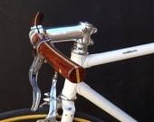 bubinga and ash wood curved bicycle handlebar