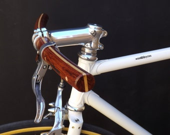 bubinga and ash wood curved bicycle handlebar