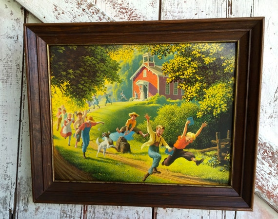 Vintage Framed Schools Out Picture By Paul Detlefsen Print On