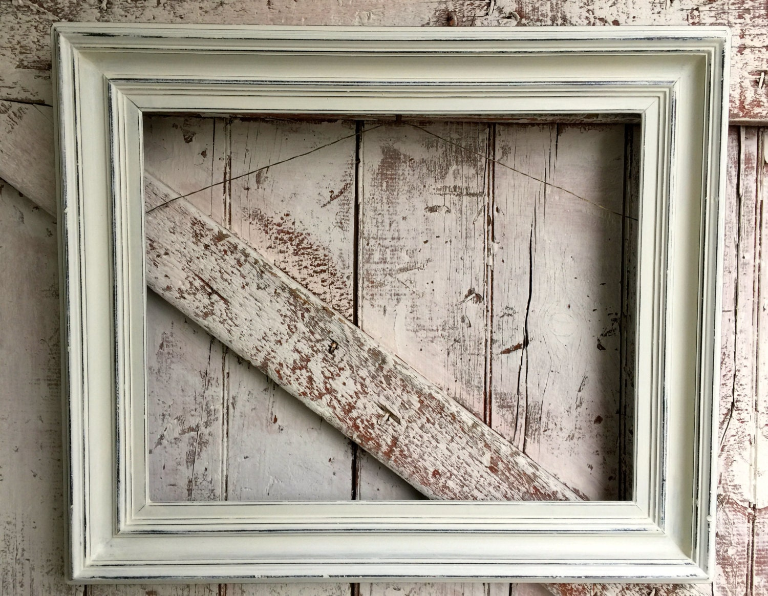 Vintage Antique Wooden Frame White Carved Wood For Mirror Or