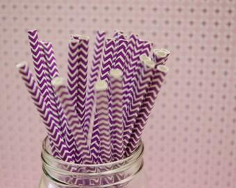 Purple Chevron Paper Straws, 25 pcs,