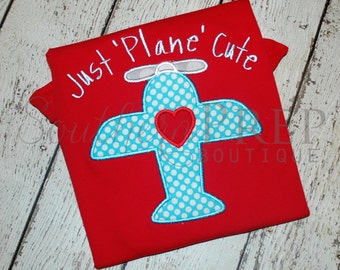 Just Plane Cute Valentine's Day Applique Design - Valentine's Shirt - Boys or Girls shirt