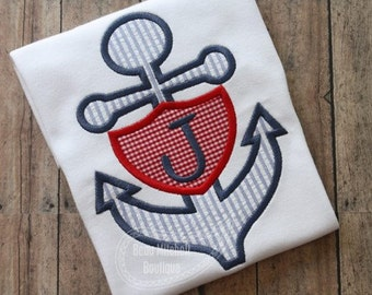 Anchor Applique Shirt - Girl's or Boy's Summer Applique Design - Custom Monogram or name