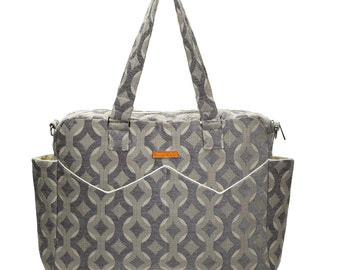 CHENILLE Satchel Diaper Bag with Changing pad in Stone Talvin