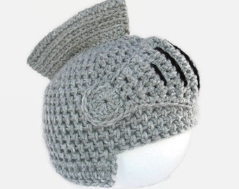 Baby Knight Hat, Toddlers Knight Helmet, Baby Crochet Hat, Toddler's Winter Hat