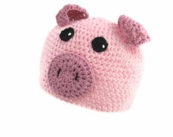 Crochet Pig Hat, Children's Pink Piggy Hat, Pink Crocheted Hat, Baby's Winter Hat