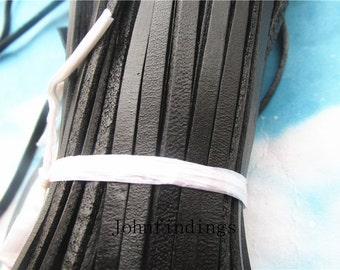 10 yards 4x2mm black/brown flat genuine/real leather cords
