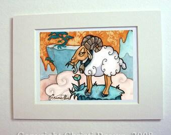 Mountain goat ram Aries matted art print Watercolor painting Fantasy Art