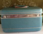 Vintage train case makeup case