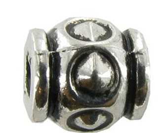 Antique Silver Metal Barrel Beads 6X7mm, 6X8 Barrell, 6X7 Pewter Bali (choose style and pkg. qty.  10 or 25 beads)