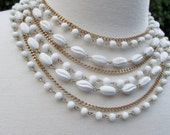 Vintage Coro Signed Multi Strand Bib Necklace, 8 Strands with White Beads, Goldtone Layered~Egyptian Revival Baroque Statement Piece