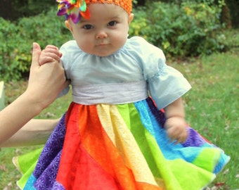 Violette's Swirly Peasant Dress Babies PDF Pattern sizes Newborn to 18/24 months