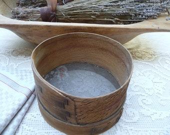 Vintage Wood Sifter European Grain Flour Sifter Sieve Strainer Screen Farmhouse Primitive Rustic Bowl