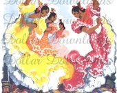 ON SALE Flamenco Dancers In Yellow, Orange and Purple Dress Vintage Travel Poster Digital Image Download  No. 4528