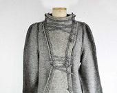 felted wool short coat grey steamed wool fabric, fleece, M muff pocket unique fashion design for winter warm wearable art to wear artsy 308