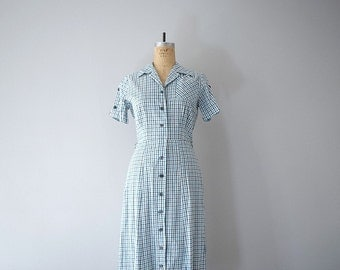 1950s shirt dress . 50s plaid day dress . vintage summer dress