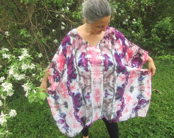 Caftan Style Poncho Top, Tie-dyed in Purple, Pink, Gray, and White, Plus Size