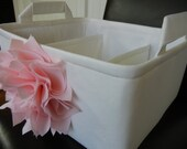 """LG Flower Diaper Caddy(choose Flower,Lining COLORS) 12""""x10""""x6""""- Two Dividers-Baby Gift-Fabric Storage Organizer-""""Baby Pink Flower on Ivory"""""""