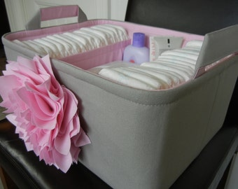 "ExLG Flower Diaper Caddy(choose Basket COLOR)14""x10""x7""- Two Dividers-Baby Gift-Fabric Storage Organizer-""Pink Flower on Grey"""