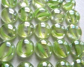 50 Glass Gems - Light Green Cats Eye - Mosaic/Wedding/Floral Displays - Half Marbles/Cabochons/Glass Nuggets