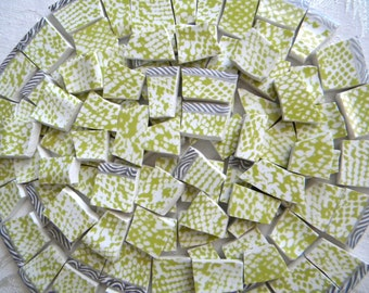 Mosaic Tiles - Modern LIME Green & White - Python Design - Recycled Plates