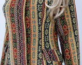 "Vintage 1960's ""The Outsider"" NeeDLe PoiNt CaRpEt TapesTry MoD HiPPiE BoHo WooDsToCk Coat Jacket Size S M"