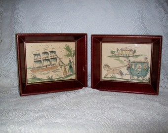 Vintage Victorian Watercolor Art Prints in Shadow Box Frames Pair Only 8 USD