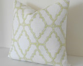 Yellow citrine and gray moroccan dotted trellis decorative pillow cover