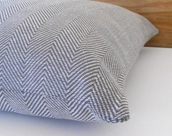 Gray and beige herringbone decorative throw pillow cover