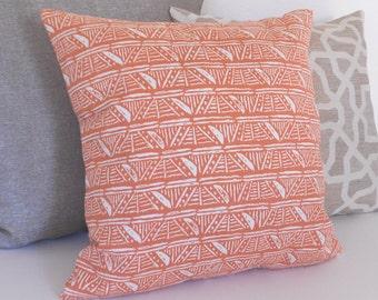 SALE Melon orange coral geometric pattern decorative pillow cover