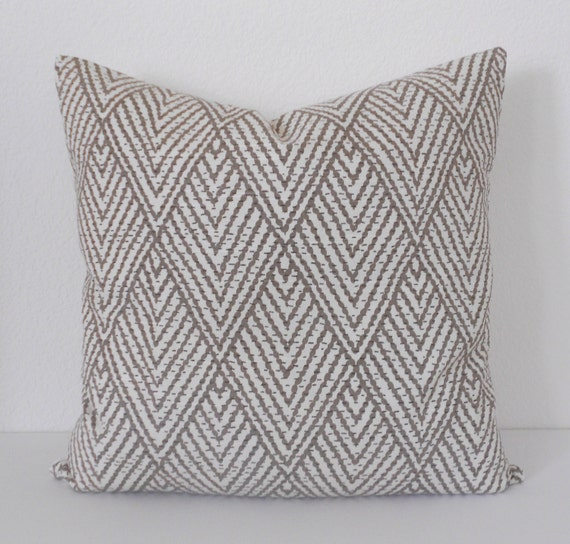 Both sides, Tan chevron diamond decorative pillow cover