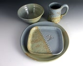 Pottery Dinnerware Set - Dragonfly design - Blue and Green glazes - 6-8 weeks