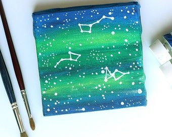Original acrylic painting Constellations Big dipper Small dipper and Lyra