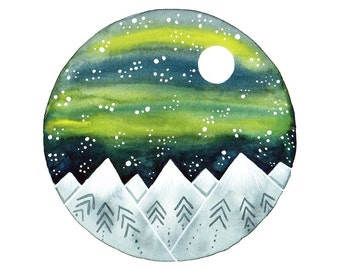 Original watercolor painting Full moon and mountains